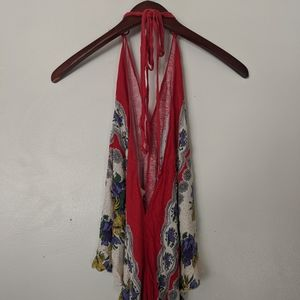 2 Silence and Noise red and black floral halters
